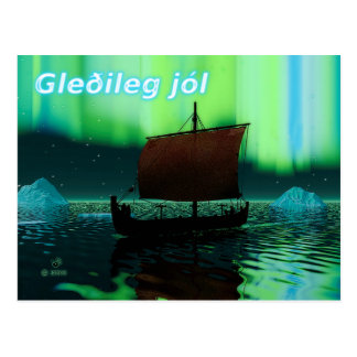 Gleðileg Jól - Viking Ship And Northern Lights Postcard