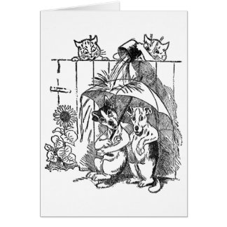 Gleeful Cats Douse Dogs Vintage Louis Wain Card