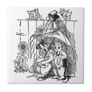 Gleeful Cats Douse Dogs Vintage Louis Wain Small Square Tile