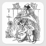 Gleeful Cats Douse Dogs Vintage Louis Wain Square Sticker