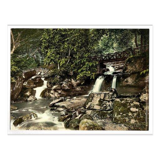 Glen Lyn., falls and upper bridge, Lynton and Lynm Post Card