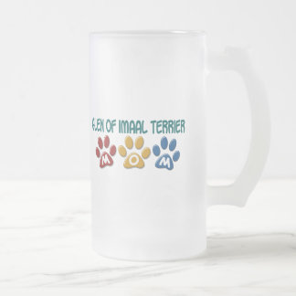 GLEN OF IMAAL TERRIER Mom Paw Print 1 Frosted Glass Beer Mug