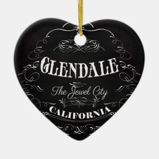 Glendale, California - The Jewel City Double-Sided Heart Ceramic Christmas Ornament
