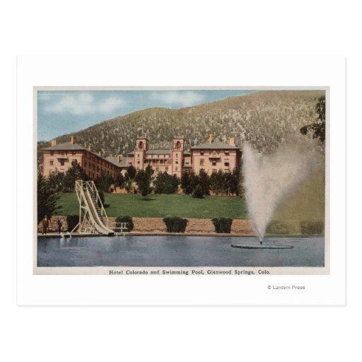 Glenwood Springs, CO - View of Hotel CO & Pool Postcard