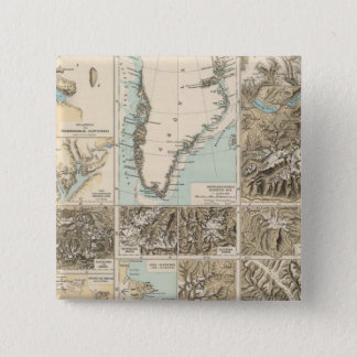 Gletscherkarte - Glacier Atlas Map 15 Cm Square Badge