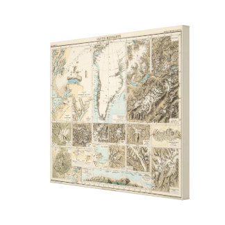 Gletscherkarte - Glacier Atlas Map Canvas Print
