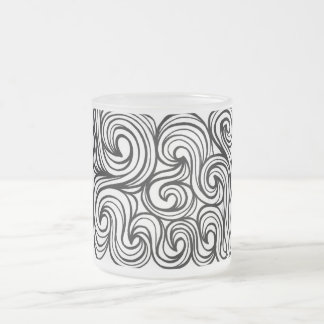 Glew Abstract Expression Black and White Frosted Glass Mug