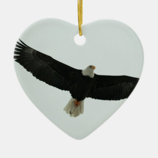 Gliding bald eagle christmas ornament