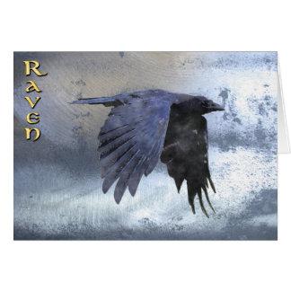 Gliding Black Raven on Steel-look Greeting Card