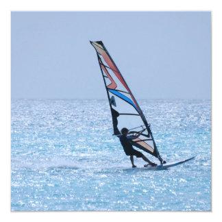 Gliding Windsurfer 13 Cm X 13 Cm Square Invitation Card