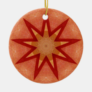 Glistening Red Christmas Star Fractal Christmas Ornament