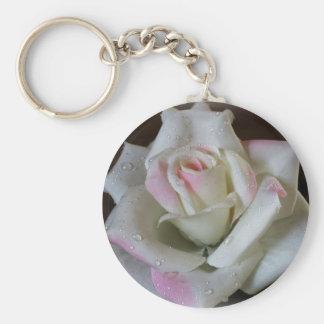 Glistening White Rose Keychain