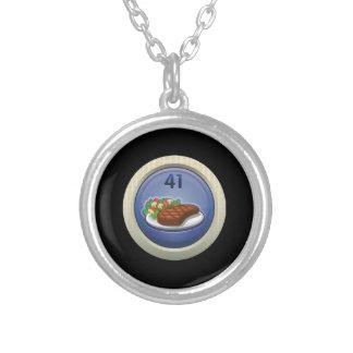 Glitch: achievement glutton for nourishment round pendant necklace