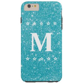 Glitter 5 Star Teal Blue Phone Custom Monogram Tough iPhone 6 Plus Case