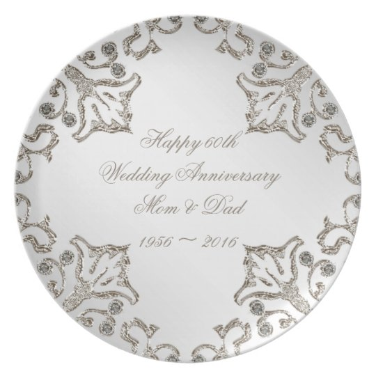 Glitter 60th Diamond Anniversary Melamine Plate