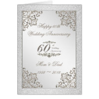 Glitter 60th Diamond Wedding Anniversary Card