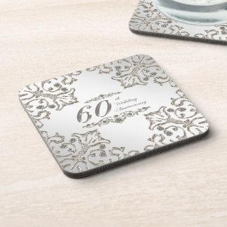 Glitter 60th Diamond Wedding Anniversary Coaster