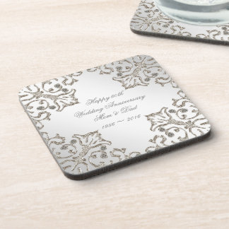Glitter 60th Diamond Wedding Anniversary Coaster