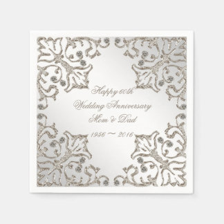 Glitter 60th Diamond Wedding Anniversary Napkins Disposable Serviette