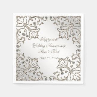 Glitter 60th Diamond Wedding Anniversary Napkins Disposable Serviette