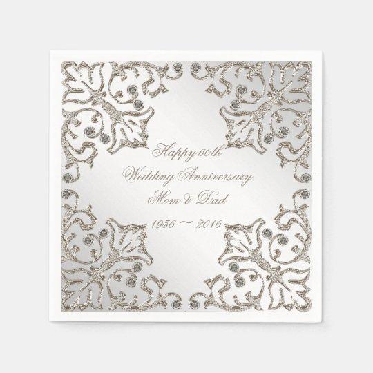 Glitter 60th Diamond Wedding Anniversary Napkins Disposable