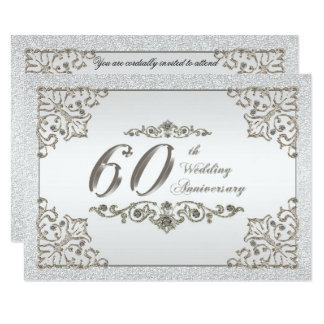 Glitter 60th Wedding Anniversary Invitation Card