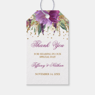 Glitter Amethyst Floral Favor Thank You Gift Tags