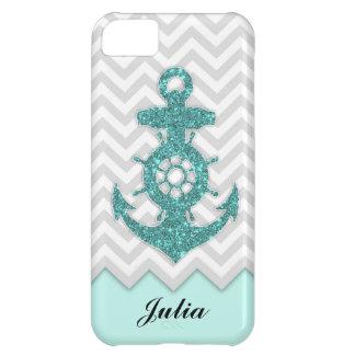 Glitter Anchor Chevron iPhone 5C Case