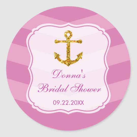 Glitter Anchor Nautical Favour Sticker