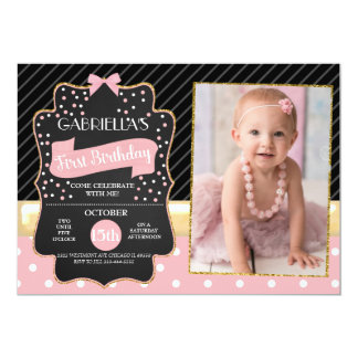 Glitter and bows birthday First birthday Card