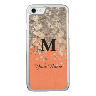Glitter and peach monogram carved iPhone 8/7 case
