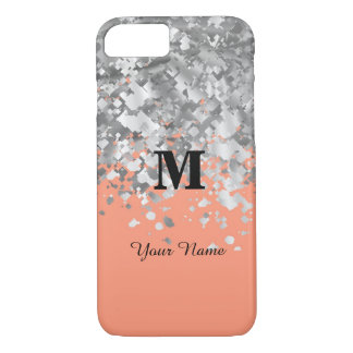 Glitter and peach personalized monogram iPhone 8/7 case