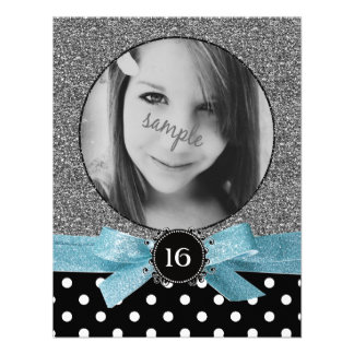 Glitter and Polkadots Photo Sweet 16 Invitation