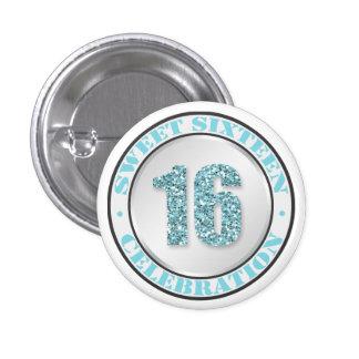 Glitter Aqua Blue Sweet 16 Celebration Buttons