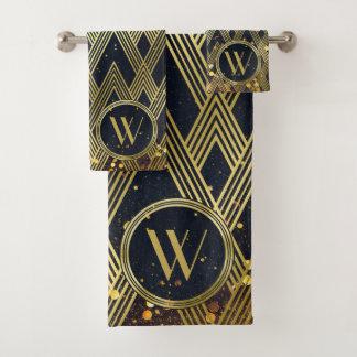 Glitter Art Deco Gatsby Glamorous Pattern Monogram Bath Towel Set