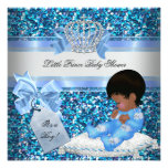 Glitter Baby Shower Boy Blue Little Prince Bunnies Personalized Invitations