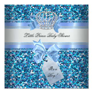 Glitter Baby Shower Boy Blue Little Prince Crown Card