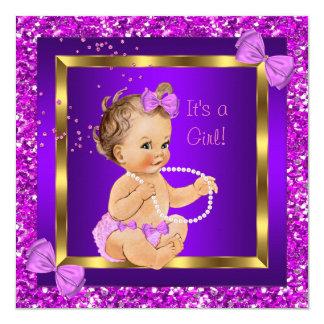 Glitter Baby Shower Girl Purple Pink 13 Cm X 13 Cm Square Invitation Card