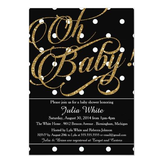 Glitter Baby Shower Invitation, Black and White Card