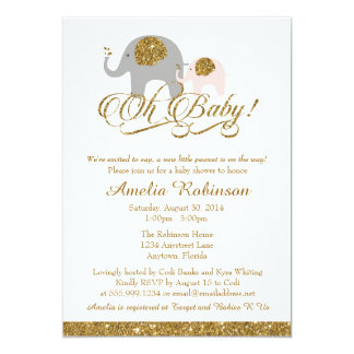 Glitter Baby Shower Invitation, Elephant Peanut Card