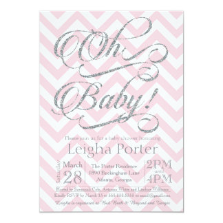 Glitter Baby Shower Invitation Silver pink chevron