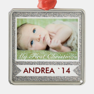 Glitter Baby's First Christmas Holiday Ornament