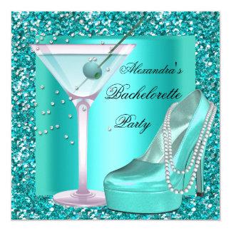 Glitter Bachelorette Party Aqua Teal Blue 13 Cm X 13 Cm Square Invitation Card