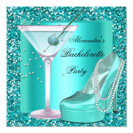 Glitter Bachelorette Party Aqua Teal Blue Card