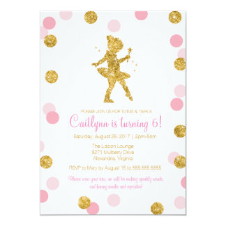 Glitter Ballerina, Pink and Gold Sparkle Birthday Card