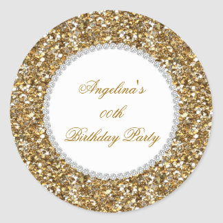 Glitter Birthday Party Gold Diamond Trim Any Age Classic Round Sticker