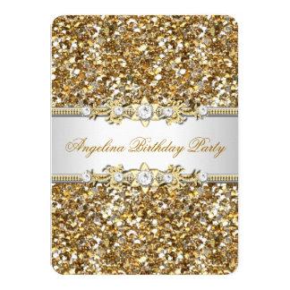 Glitter Birthday Party Gold Jewel Diamond 11 Cm X 16 Cm Invitation Card