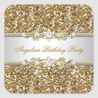 Glitter Birthday Party Gold Jewel Diamond Any Age Square Sticker