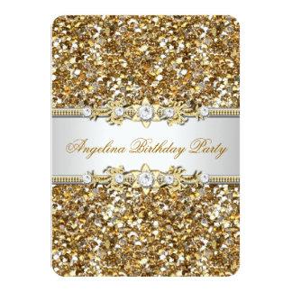 Glitter Birthday Party Gold Jewel Diamond 4.5x6.25 Paper Invitation Card