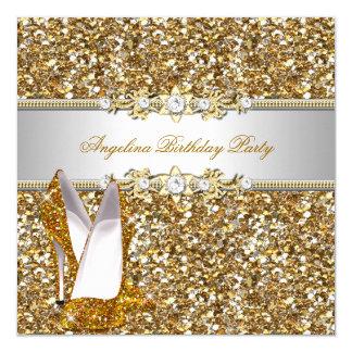 Glitter Birthday Party Gold Jewel Diamond shoes 13 Cm X 13 Cm Square Invitation Card